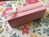 Scatolina battesimo bimba confetti cartoncino rosa con nastrino avorio