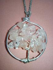 collana albero della vita quarzo rosa e cristallo di rocca