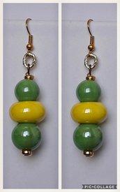 Orecchini in ceramica giallo e verde