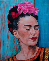Ritratto Frida Kahlo acrilico su tela
