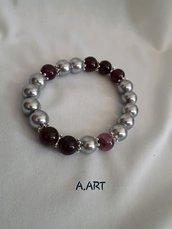 Bracciale perle argento lucido e pietre viola