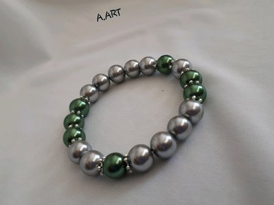 Bracciale perle argento e verde lucido
