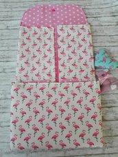 fasciatoio da viaggio con fenicotteri rosa