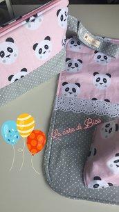 Trousse, traversina e bandana - coordinato nascita - set per la cura e l'igiene del neonato