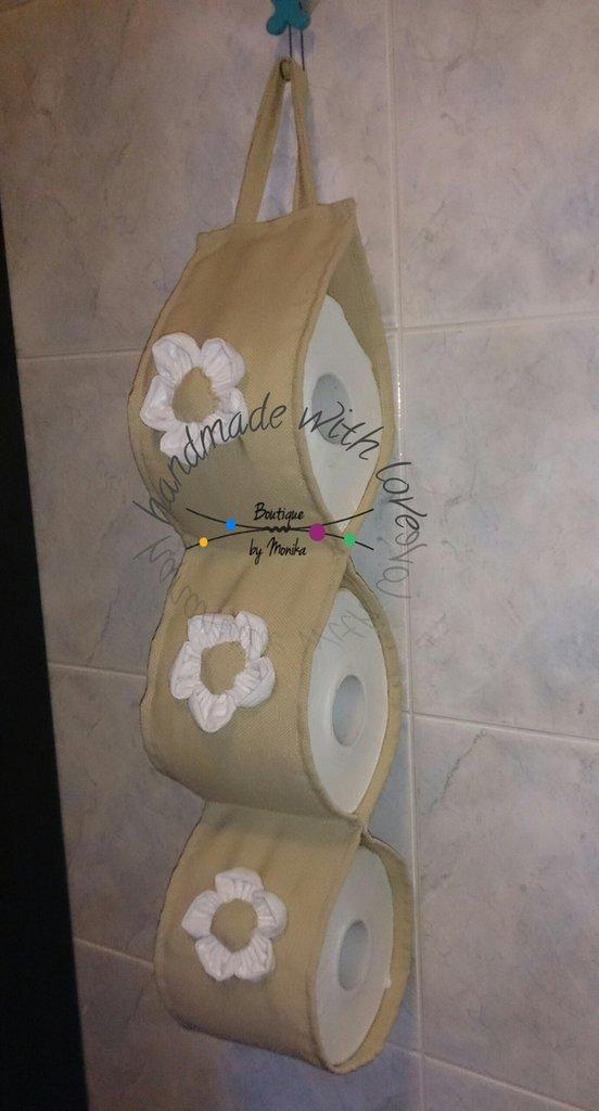 Porta rotolo carta igienica stile shabby con i fiori in stoffa