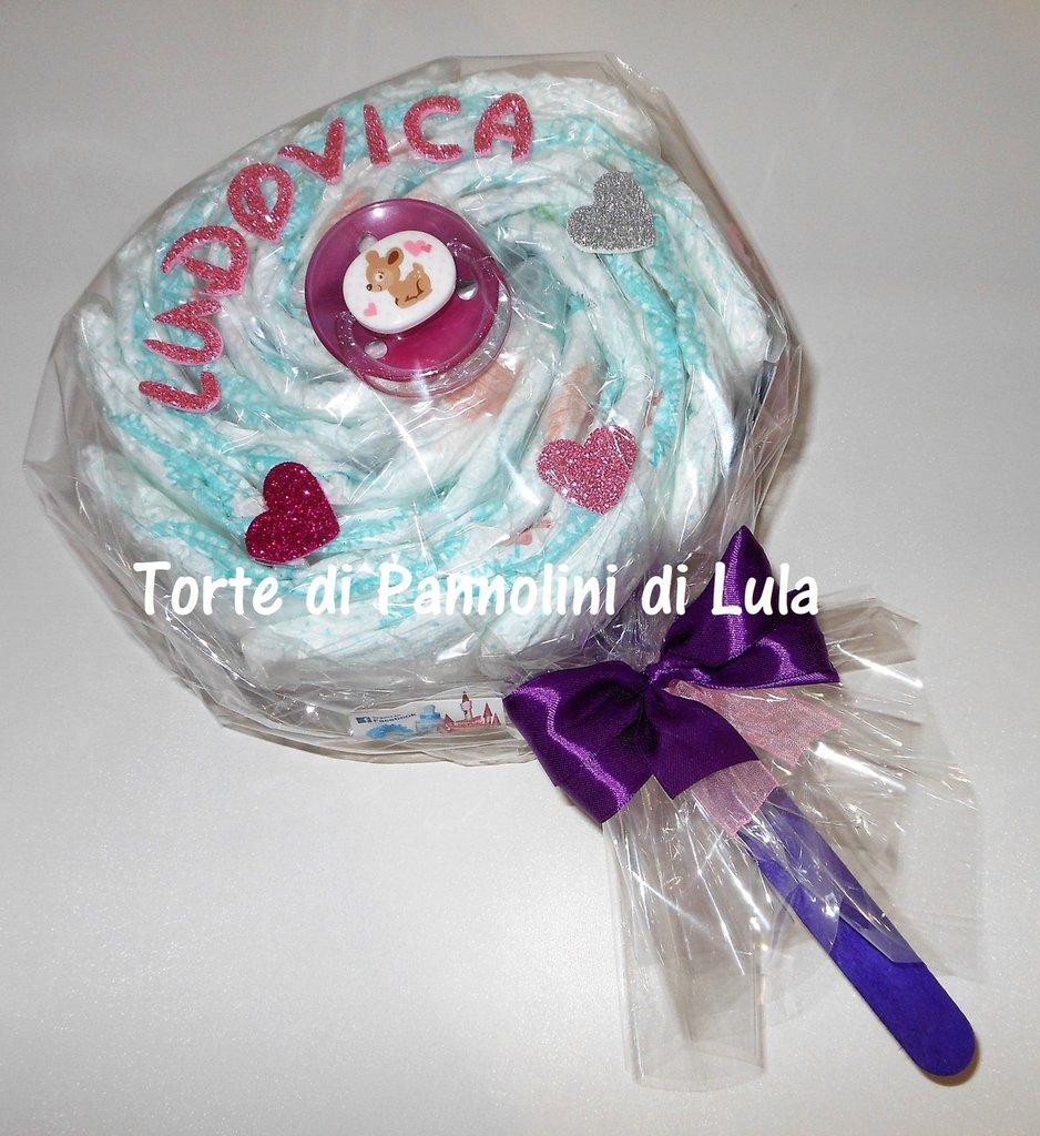 TORTA di PANNOLINI Pampers LECCA LECCA + CIUCCIO, idea regalo nascita battesimo 1 anno, neonato