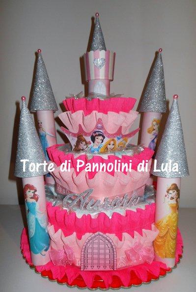 Torta di Pannolini Pampers Castello - idea regalo, originale ed utile, per nascite, battesimi e primi compleanni.