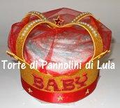 Torta di Pannolini Pampers Corona Re / Regina +nome idea regalo utile nascita battesimo