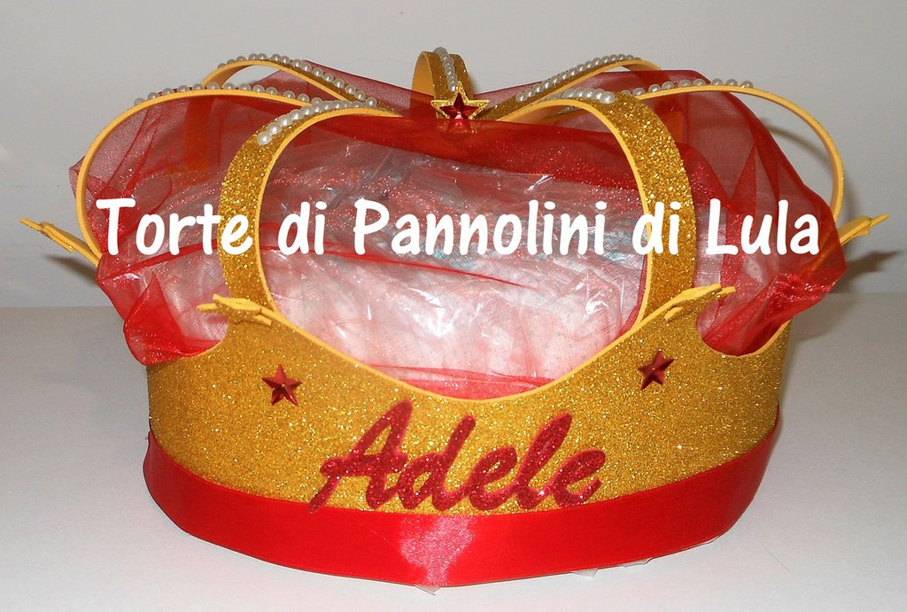 Torta di Pannolini Pampers Corona grande Re / Regina + nome idea regalo utile nascita battesimo