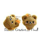 Orecchini cupcake alla vaniglia - orsetto - muffin - idea regalo in fimo e cernit - miniatura