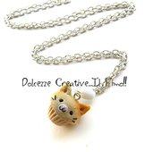 Collana Cupcake gatto - gattino - miniature -  idea regalo handmade kawaii in fimo