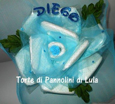 Torta di Pannolini Pampers baby dry bouquet FIORI mazzo rose nascita battesimo
