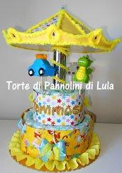 Torta di Pannolini Pampers Giostra grande carosello carillon - idea regalo originale utile nascita battesimo