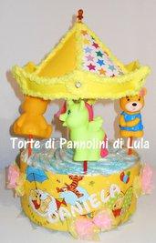Torta di Pannolini Pampers Giostra carosello carillon - idea regalo, originale ed utile, per nascita battesimo