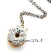Collana Donut - ciambella a forma di coniglio glassata . miniature handmade idea regalo in fimo e cernit