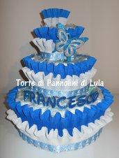 Torta di Pannolini Pampers Baby Dry + farfalla e nome 3D idea regalonascita battesimo baby shower