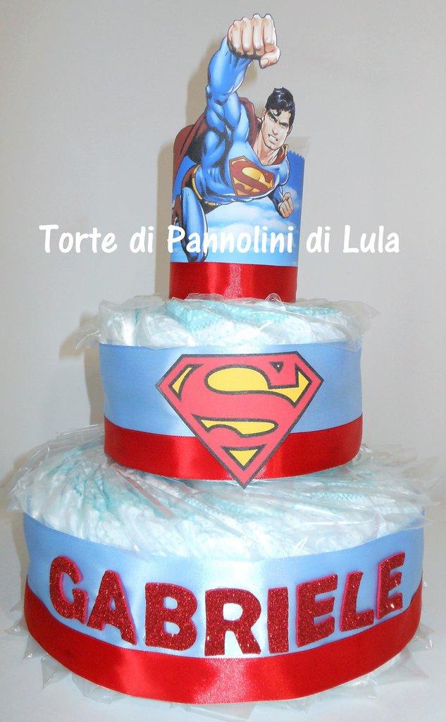 Torta di pannolini Pampers grande SUPERMAN maschio idea regalo nascita battesimo