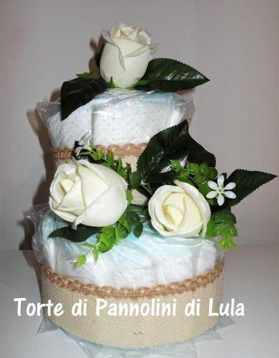 Torta di Pannolini elegante Pampers unisex + rose idea regalo nascita battesimo