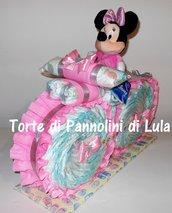 Torta di Pannolini Pampers Moto bicicletta peluche Minnie idea regalo nascita battesimo baby shower