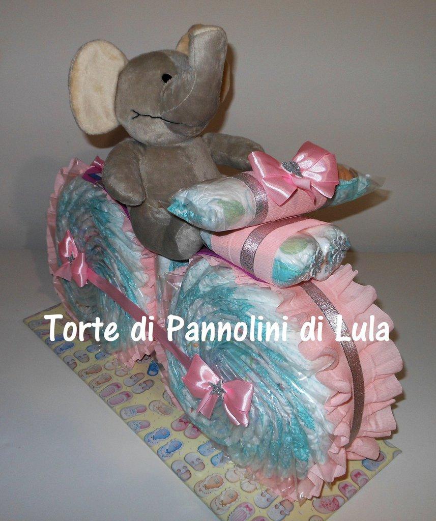 Torta di Pannolini Pampers Moto bicicletta peluche idea regalo nascita battesimo baby shower