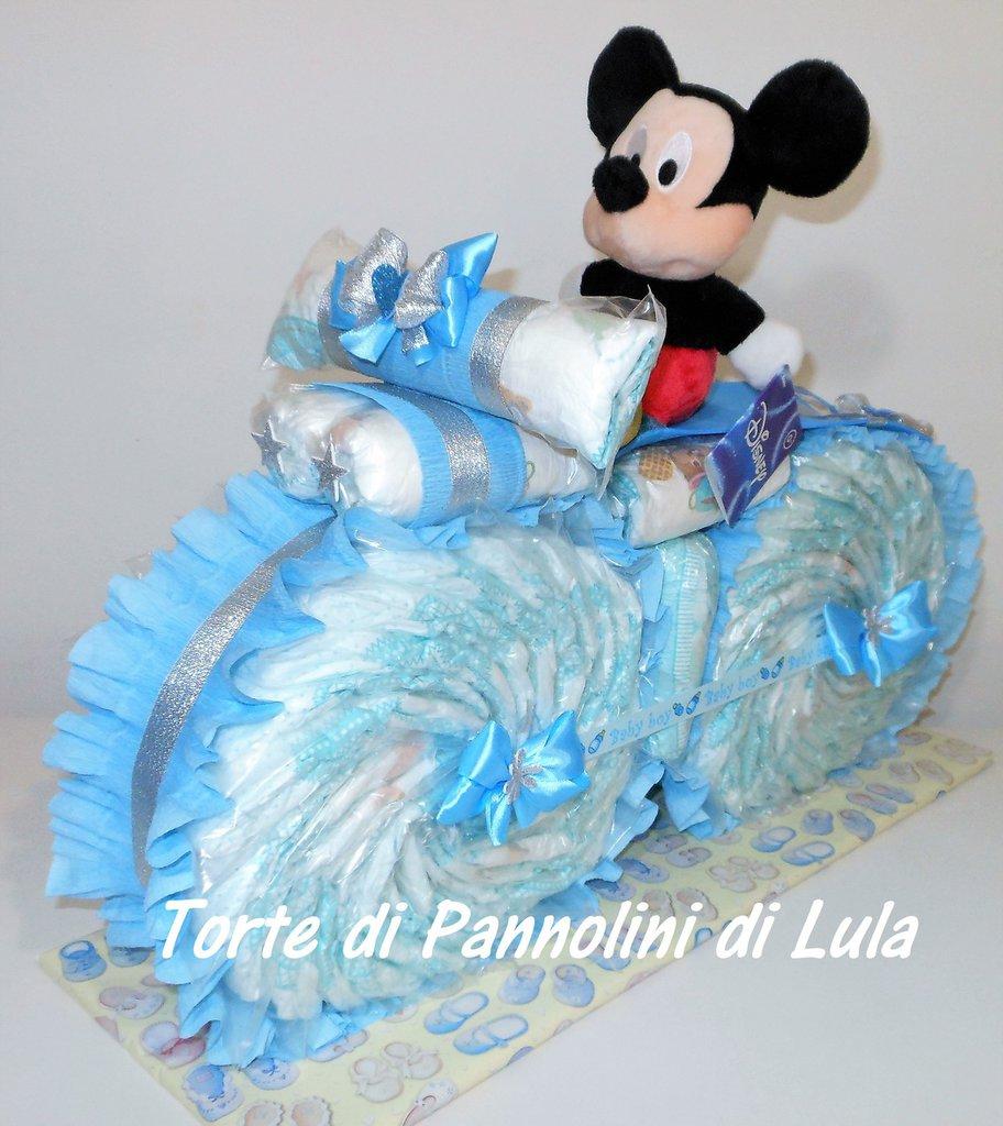 Torta di Pannolini Pampers Moto bicicletta Peluche Topolino idea regalo nascita battesimo baby shower