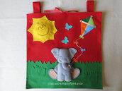 Portapigiamino elefantino in pannolenci