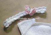 Fascia/fascetta neonata/bambina bianca/farfalla- cotone - baby shower/battesimo/cerimonia