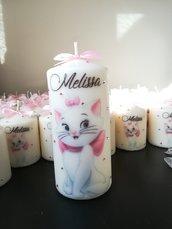 Candela candele grandi decorate brillantini stampa Aristogatti Minou personaggio nome data