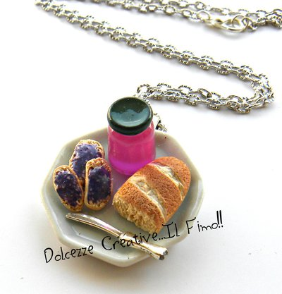 Collana Piatto con marmellata e pane - idea regalo - miniature kawaii - in fimo e cernit