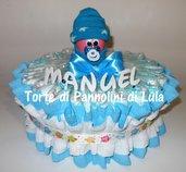 Torta di Pannolini Pampers NEONATO bebè idea regalo, originale ed utile, per nascite, battesimi e baby shower