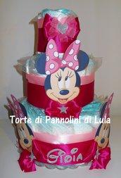 Torta di pannolini Pampers grande MINNIE femmina idea regalo nascita battesimo baby shower