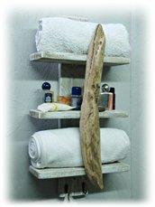 Porta asciugamani da parete, con legno di mare