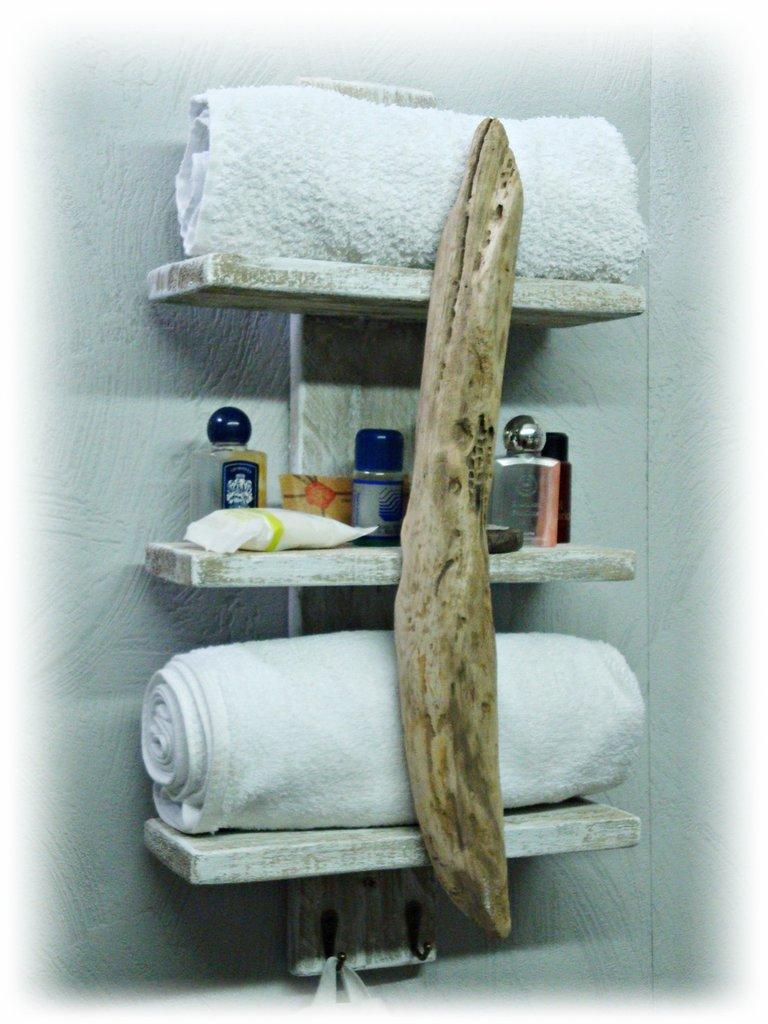 Appendi Asciugamani Da Muro porta asciugamani da parete, con legno di mare