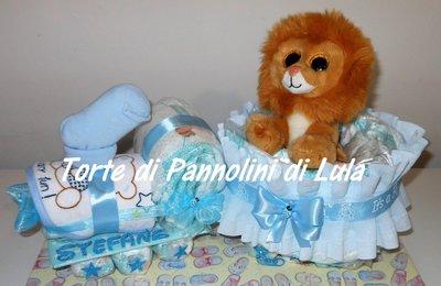 Torta di Pannolini Pampers Treno trenino + peluche idea regalo nascita battesimo baby shower
