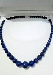 Collana donna vero lapislazzulo pietre dure naturali perle graduate da 6 a 14  mm chakra cristalloterapia