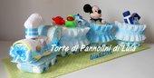 Torta di pannolini Treno trenino grande Pampers - Idea regalo nascita battesimo baby shower