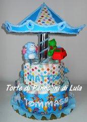 Torta di Pannolini Pampers GEMELLI Giostra grande carosello carillon - idea regalo nascita battesimo baby shower