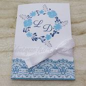 Partecipazione nozze fiori azzurri