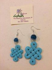 Orecchini azzurri asimmetrici in agata e resina