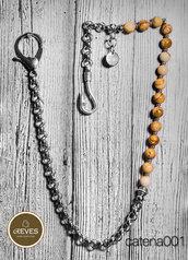 catena pantalone in acciaio, metallo e pietre naturali da 8mm
