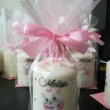 Candela candele confezione nascita segnaposto portaconfetti nome decorazioni personaggi cartoni fiocco