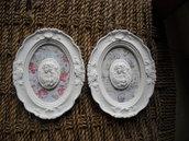 Piccole cornici in polvere ceramica con cammeo Stile shabby 2 Pezzi
