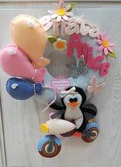 """Fiocco nascita """"pinguino in moto"""""""