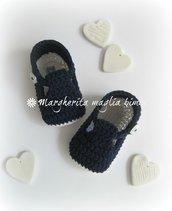 Scarpine neonato - cotone blu e bianco - fatte a mano - uncinetto - Battesimo