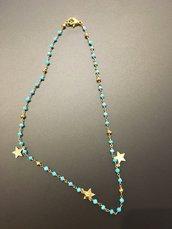 Collana tipo rosario in pirite turchese e stelline dorate