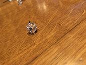 Lotto di 5 chiodi per rosette o fiori , pezzi di ricambio per specchi , con testa in vetro, ideali per specchi Veneziani con pezzi rotti o danneggiati
