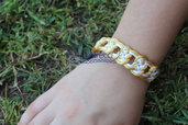 braccialetto nodi bianco e oro