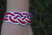 braccialetto nodi marinaresco bianco e rosso artigianale