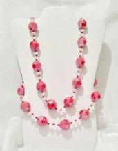 """Parure con perle sfaccettate rosse e cristalli """"Ciliegie golose"""""""
