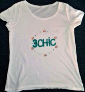 T-shirt donna 100% cotone decorata con strass